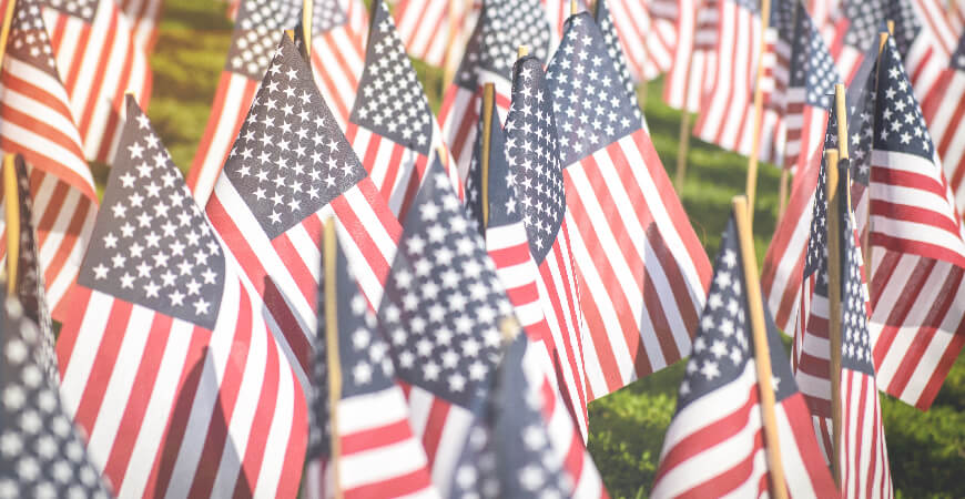 Close up of a sea of small American flags planted in a field of grass.